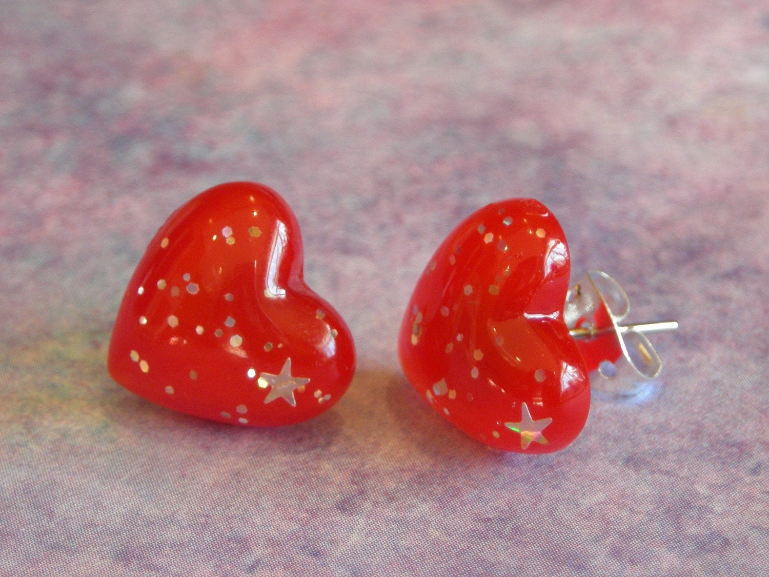 Red glitter heart valentines earrings 13mm
