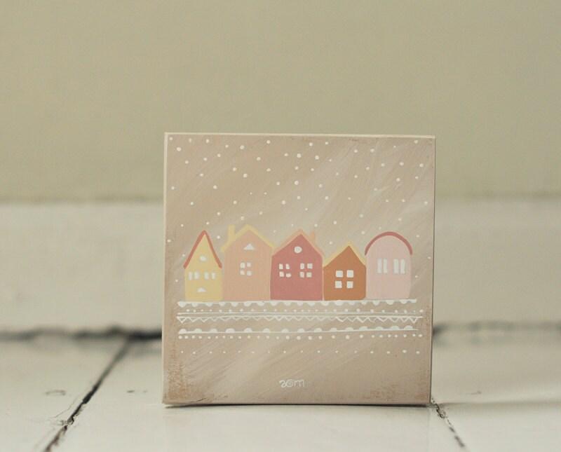 Hand painted CD/DVD case Little Houses, wooden box, wood case, decorative box, keepsake box, recipe box, - ANAMARKO