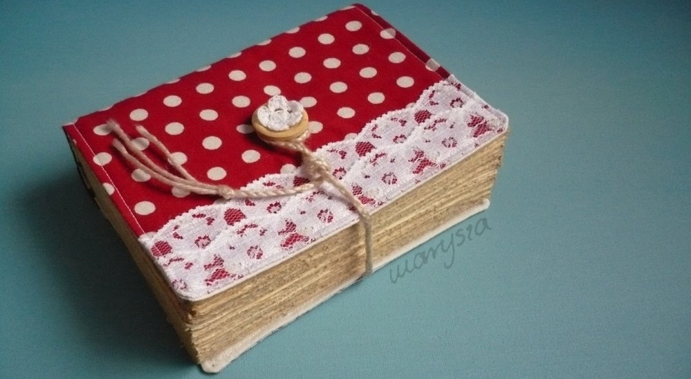 old style red polka dots notebook