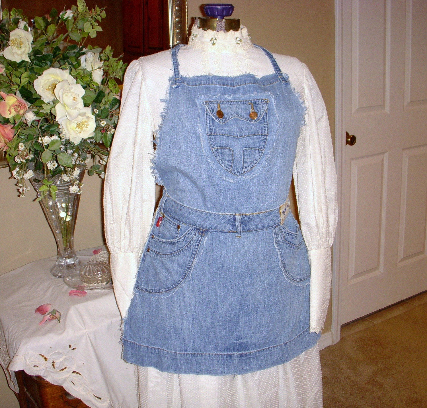 Handmade Clothing on Etsy - Recycled Blue Jean Apron by ljeans