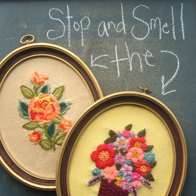 Vintage Flower Crewel Embroidery Pictures