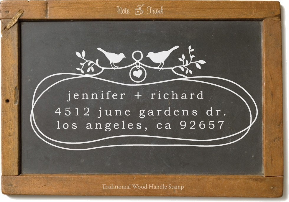Custom Wood Handle Address Stamp Organic Loops Two Birds In Love -1029