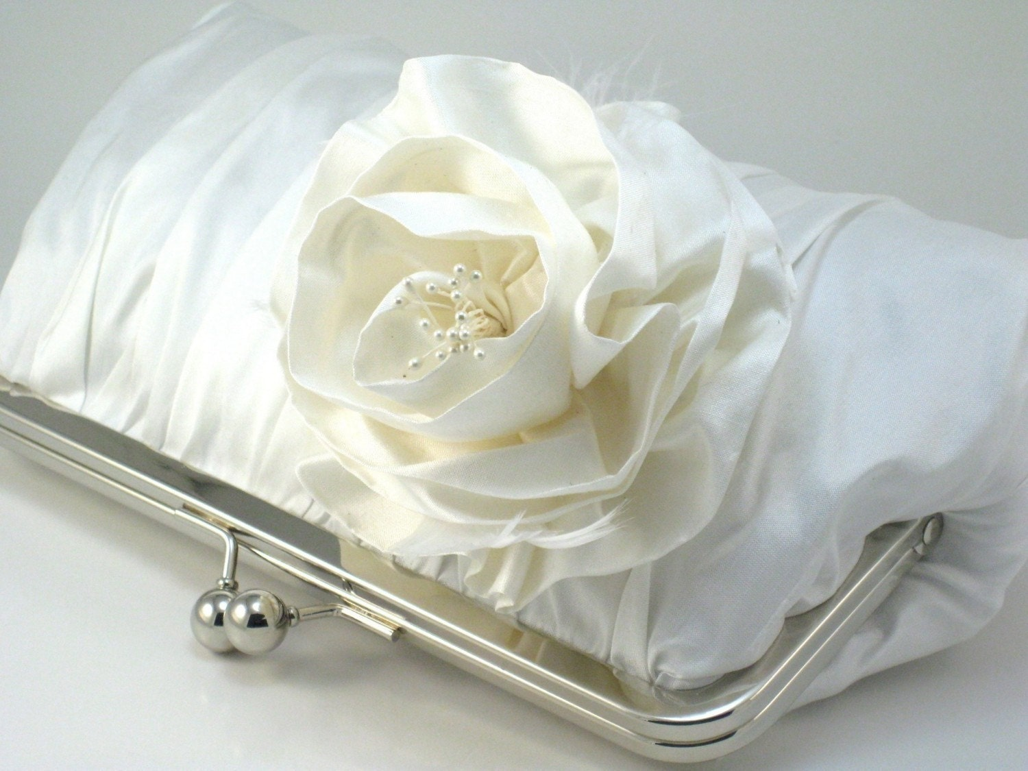 Ivory Rosa Iceberg Clutch Purse