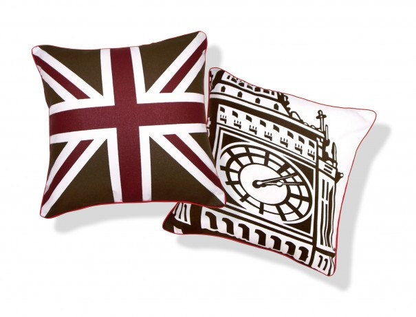 BRITISH UNITED KINGDOM UNION JACK BIG BEN PILLOW (BURGUNDY and BROWN)