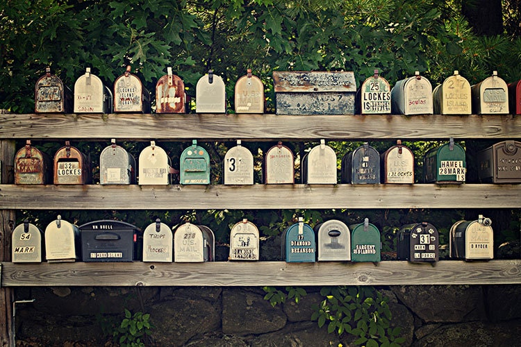 Vintage Mailboxes - New England Photography - Lakes Region NH - 8x12 fine art photo - aroundtheisland