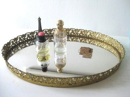 Gold Filigree Vanity Tray