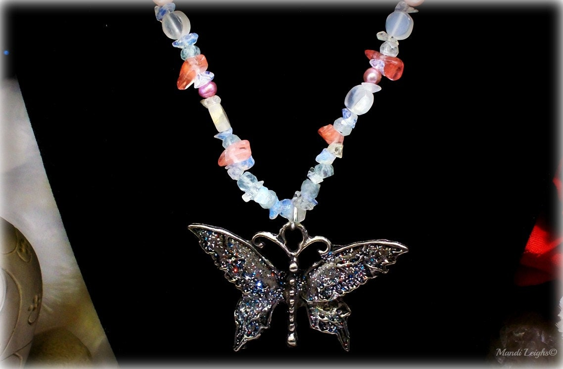 Secret of the Butterfly Gemstone Necklace