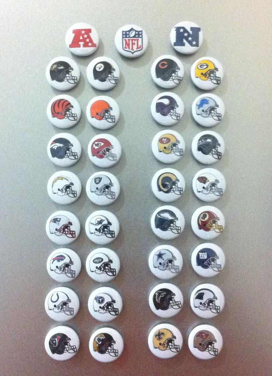 Nfl Team Helmet Kitchen Magnet Set By Circlesandwords On Etsy