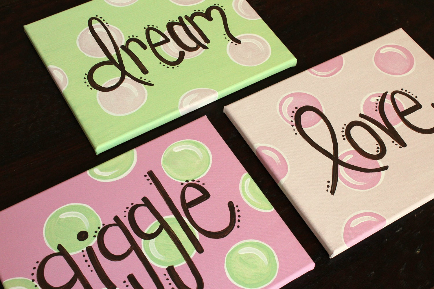 dream, love, giggle 11x14(set of 3) READY TO SHIP