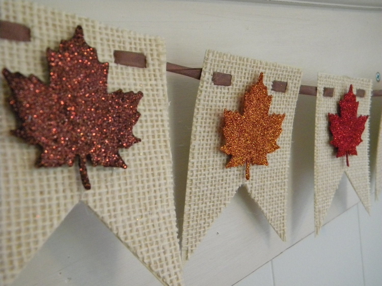 Decorating Ideas > Fall Burlap Banner Leaves Thanksgiving By LittlePumpkinPapers ~ 070224_Thanksgiving Decorations On Etsy