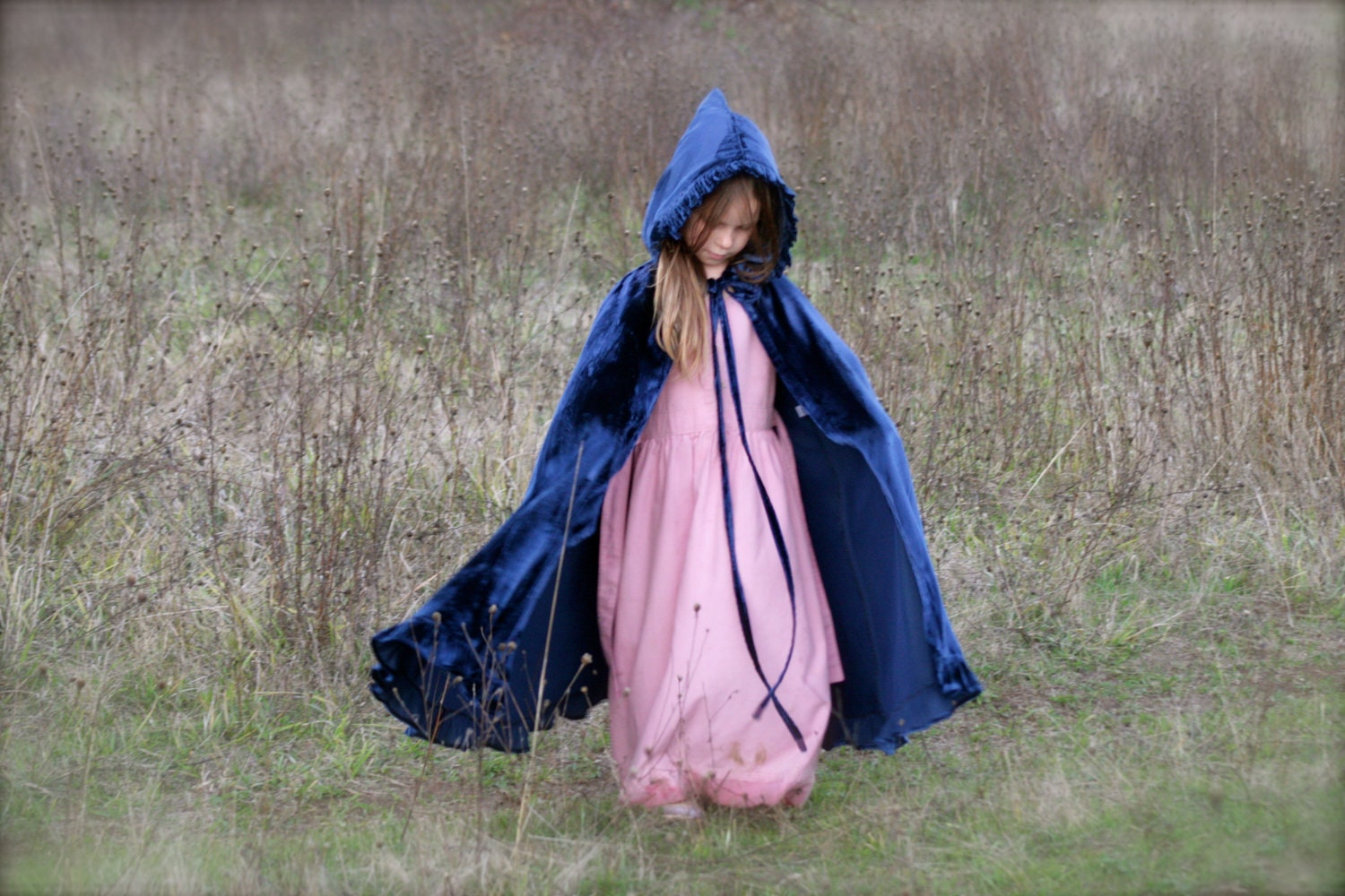 Girl s midnight blue velvet riding hood cape child s cape girl s