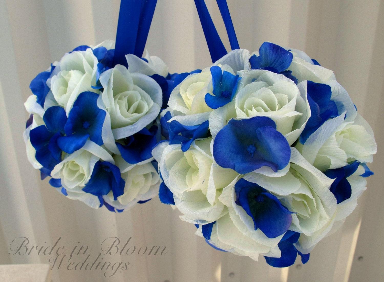 Wedding pomanders White Ivory Royal blue Wedding flower balls Flower girl Kissing ball Ceremony decorations - BrideinBloomWeddings