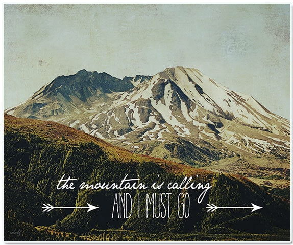 Nature photography, mountain photography, typography, fine art print - BleuOiseau