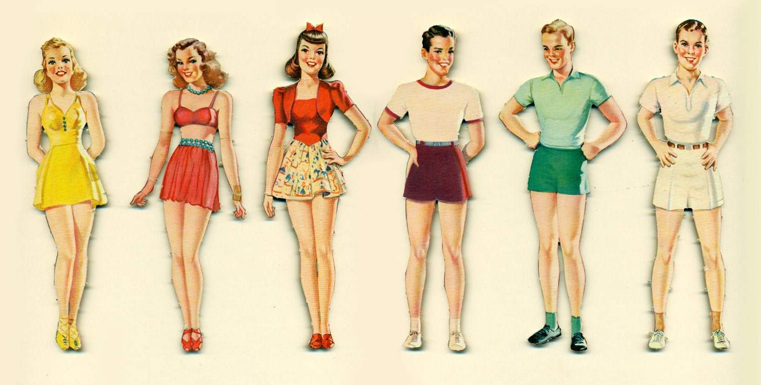 Vintage paper dolls merrill 3459a party of paper dolls circa 1940s