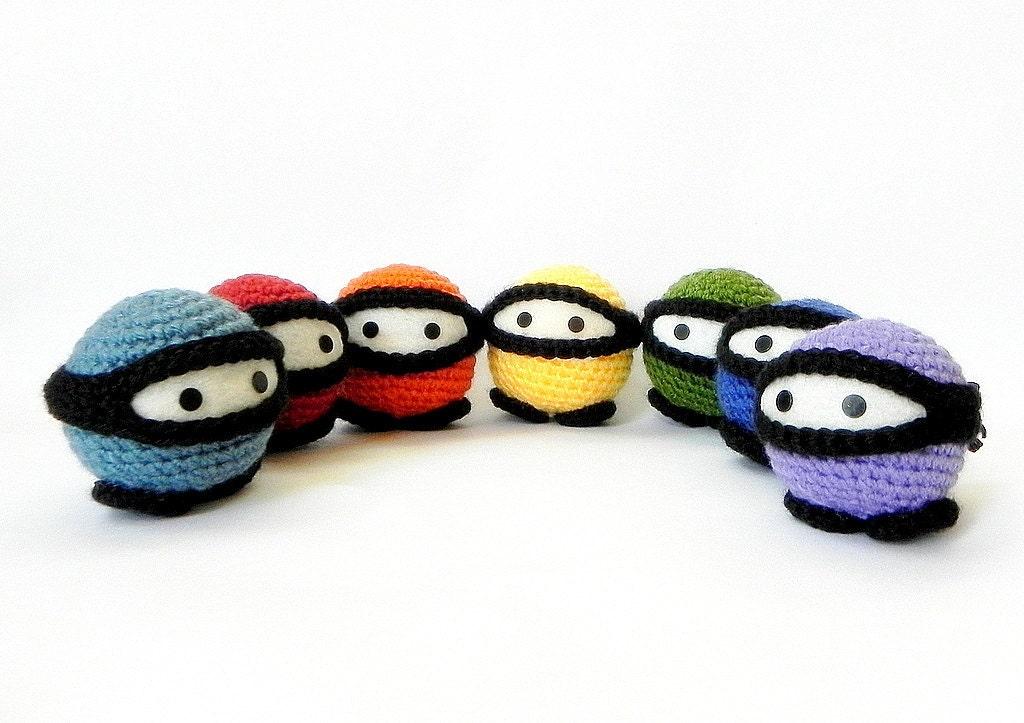 Amigurumi Ninja : Rainbow Ninja Crochet Amigurumi doll pattern/ PDF by TGLDdoll