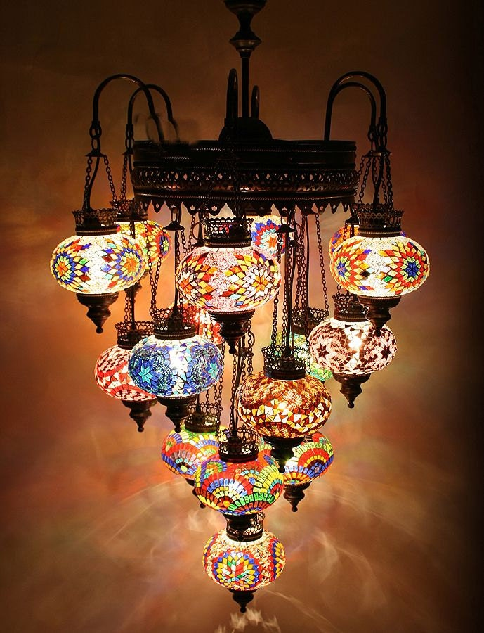 Items similar to 21 ball 110 230v extra large turkish moroccan hanging glass mosaic chandelier - Improve your home decor with moroccan lamps ...
