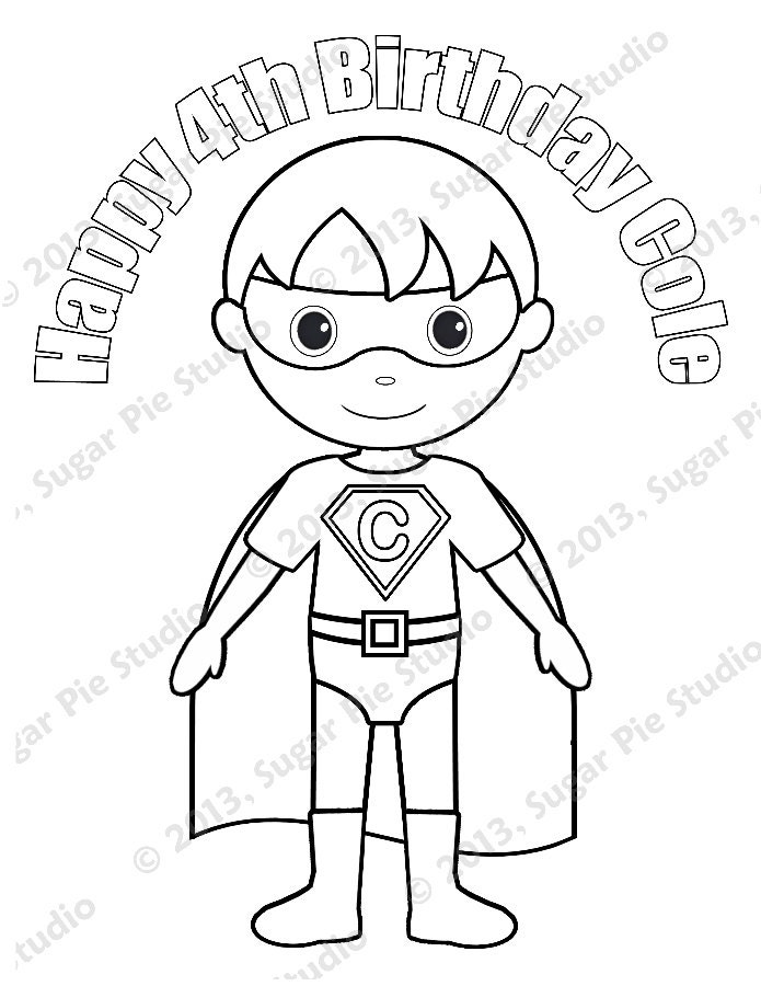 Colouring Pages Superheroes Pdf : Personalized printable superhero boy birthday by