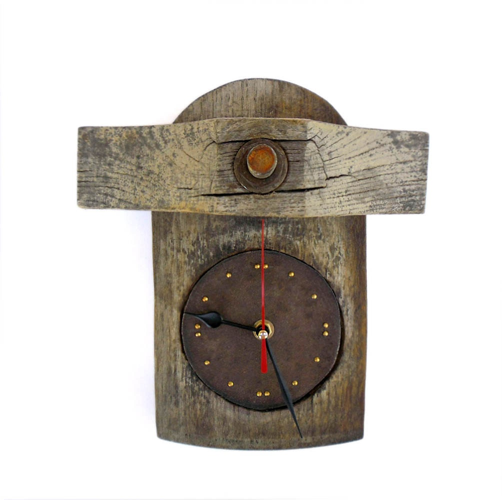 Rustic Wood Wall Clock Recycled Old Barrel By