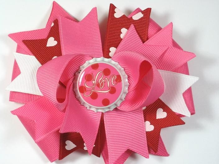 Valentines Day Bottle Cap Hair Bow Clip Boutique Red Pink Love