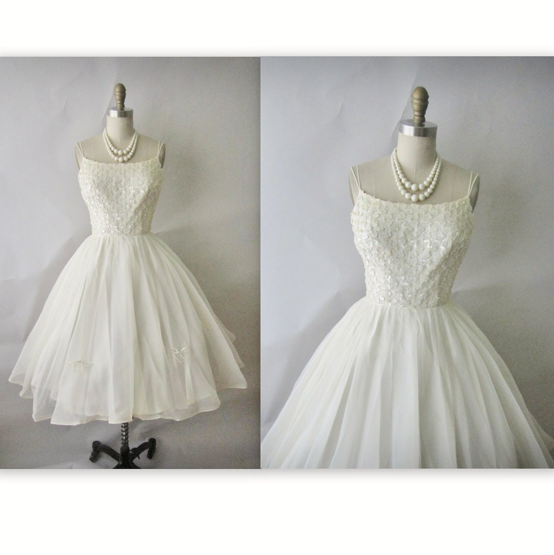 50 s Chiffon Wedding Dress Vintage 1950 s by