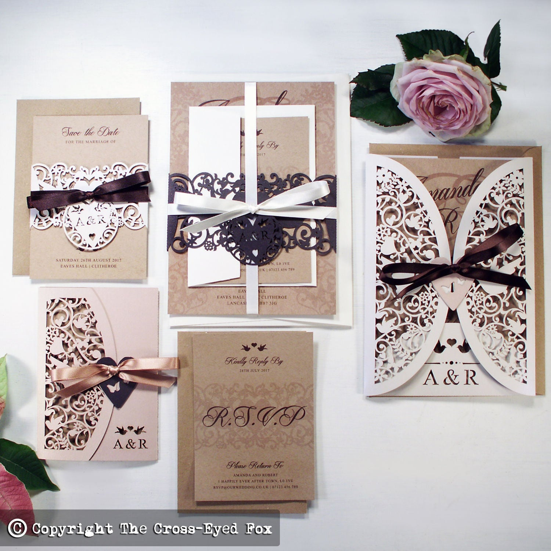 Kraft Wedding invitation Wedding stationery suite  Laser cut Vintage love birds wedding invite Rustic wedding invitation Blush invite