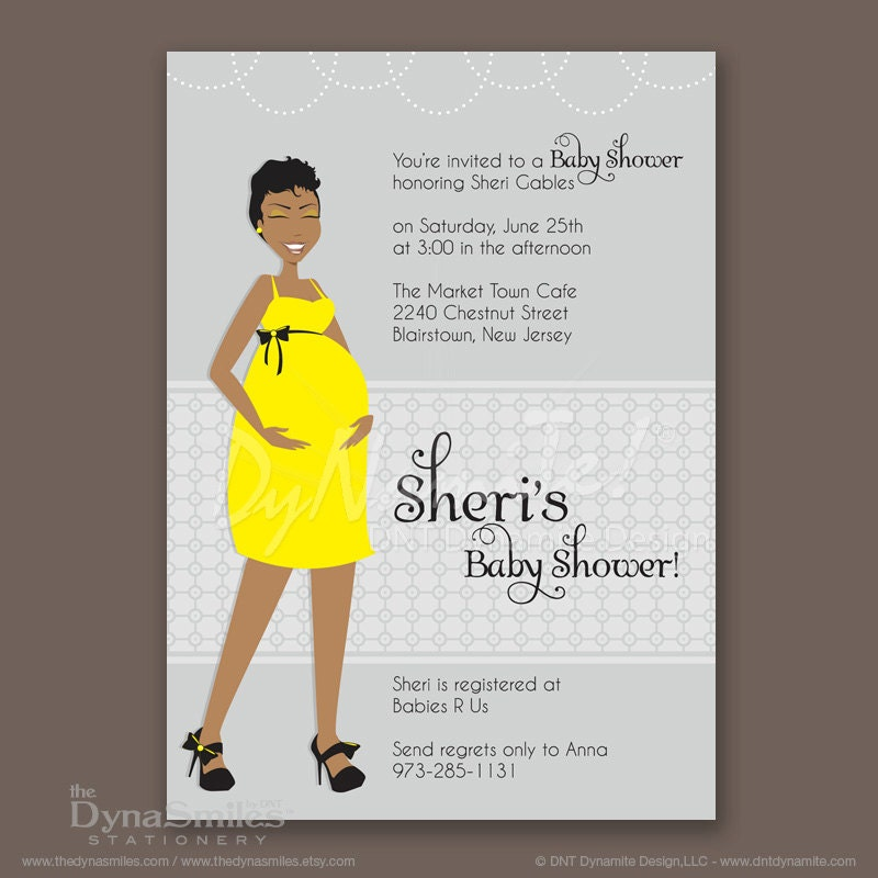 Pregnant Diva - Baby Shower Invitation - African American - Pixie Cut Short Hair Style