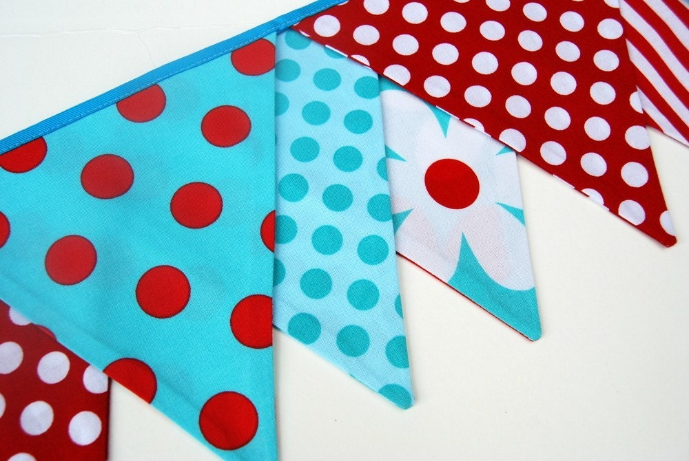 Birthday Banner / Playroom Bunting -- in red, turquoise blue, white  fabric -- for girl