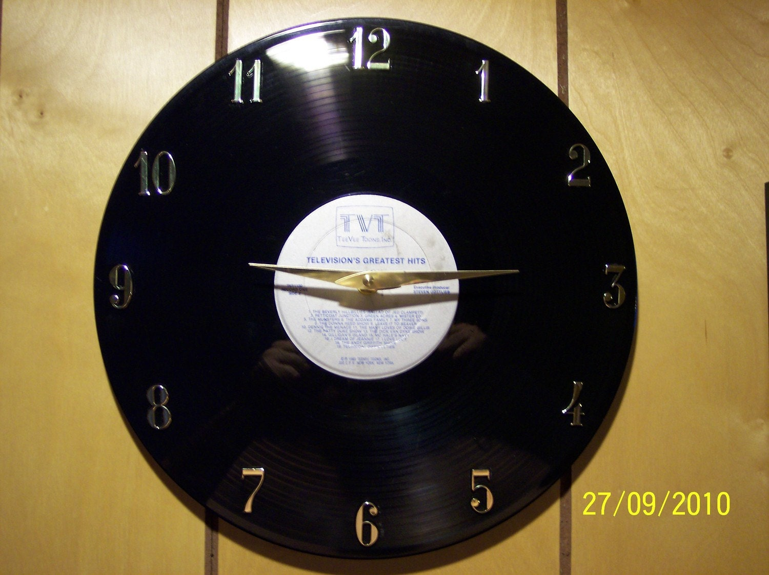 Television's Greatest Hits vinyl record clock