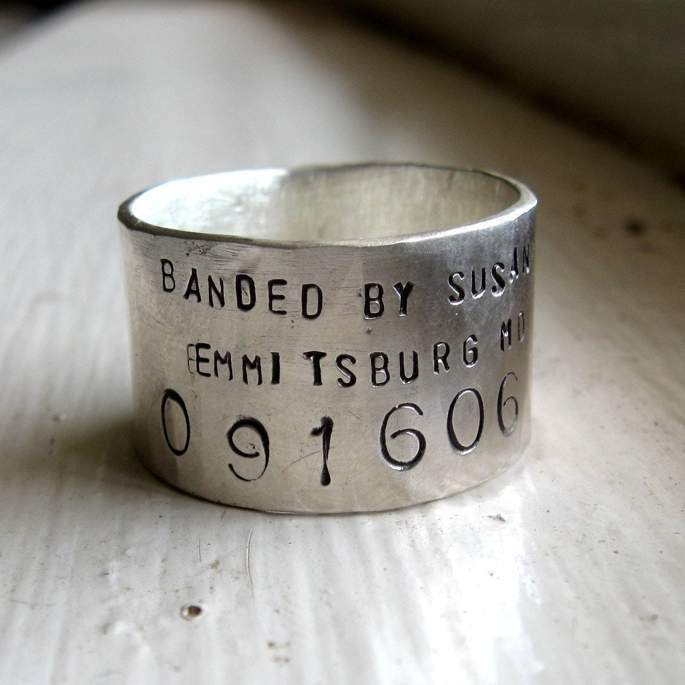 Unique Handmade Rustic Sterling Bird Band Ring - makes a great groom gift