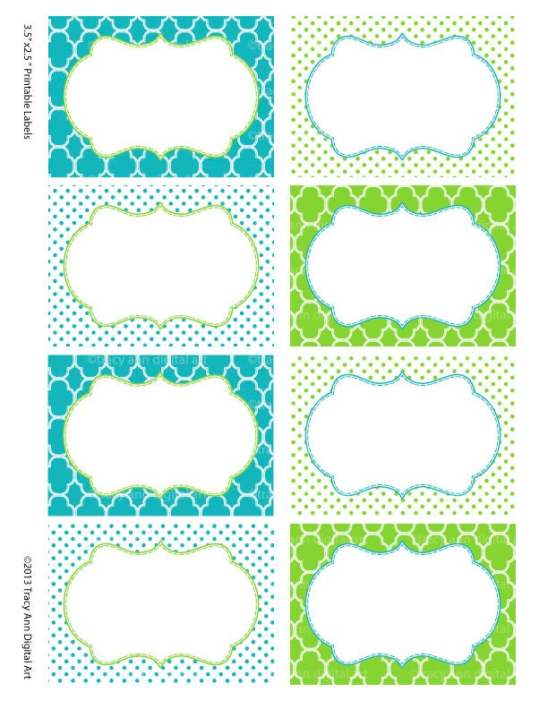 Printable Labels Or Buffet Cards Blue