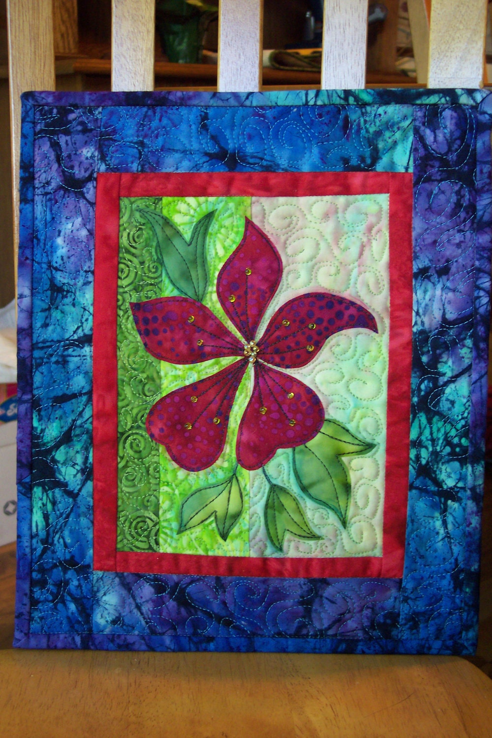 Clematis Wall Hanging Art Quilt Batik Fabric Applique By