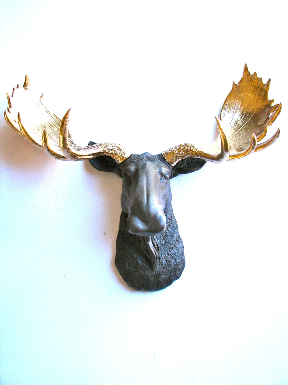 Faux taxidermy moose head wall hanging wall mount by mahzerandvee - Fake moose head ...