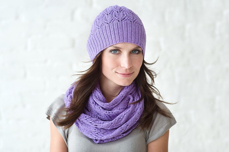 Lilac infinity snood cowl scarf and beanie hat   - knitted from cotton and silk yarn - rinaberges
