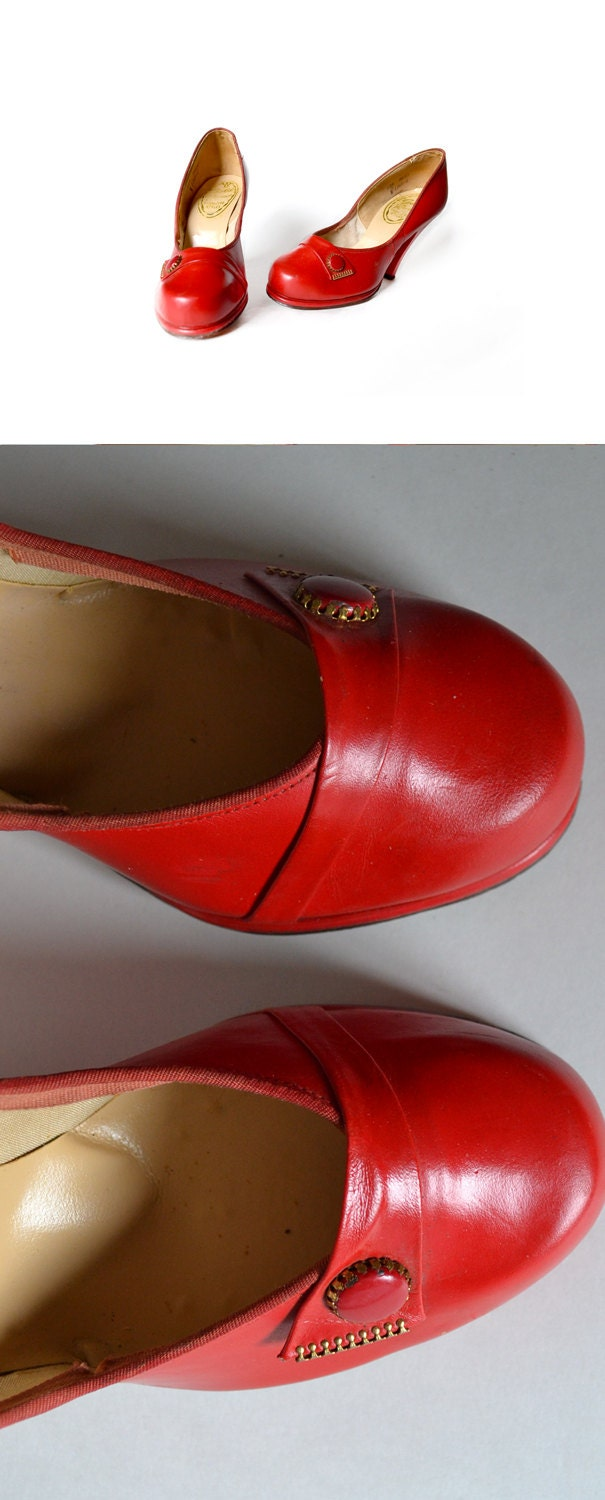 1940s Shoes / Red Shoes / Red Babyd oll Shoes / Red Pumps / 40s Heels