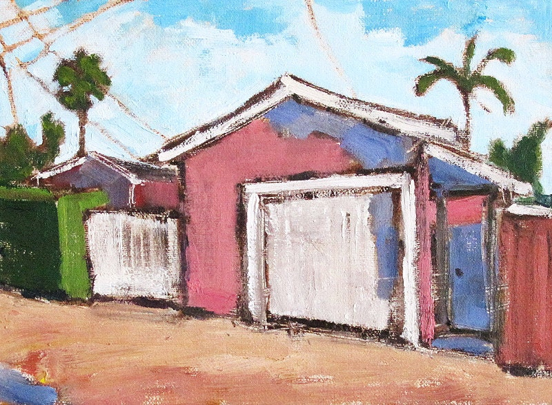 Pink House and Palm Trees- San Diego Painting