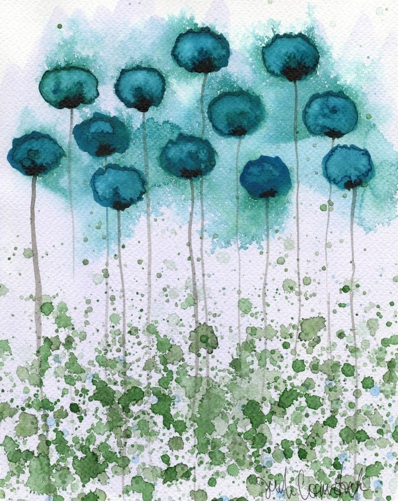 Object of My Affection -- Teal Flowers -- Giclee Print 8x10