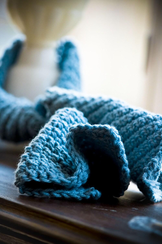 Sapphire Skies - Handmade Light Blue Crochet Garden Scarf