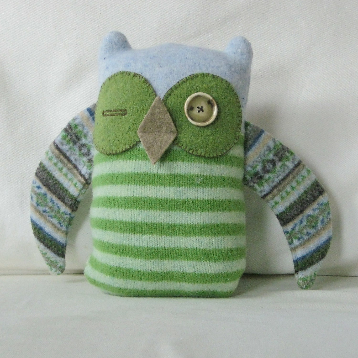 Stuffed Woodland Rescue Owl - Handmade From Felted Wool Sweaters