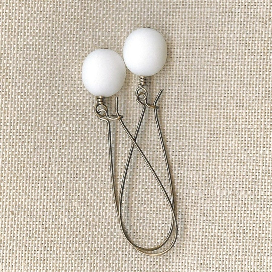 Simply White Vintage Lucite and Natural Brass Dangles