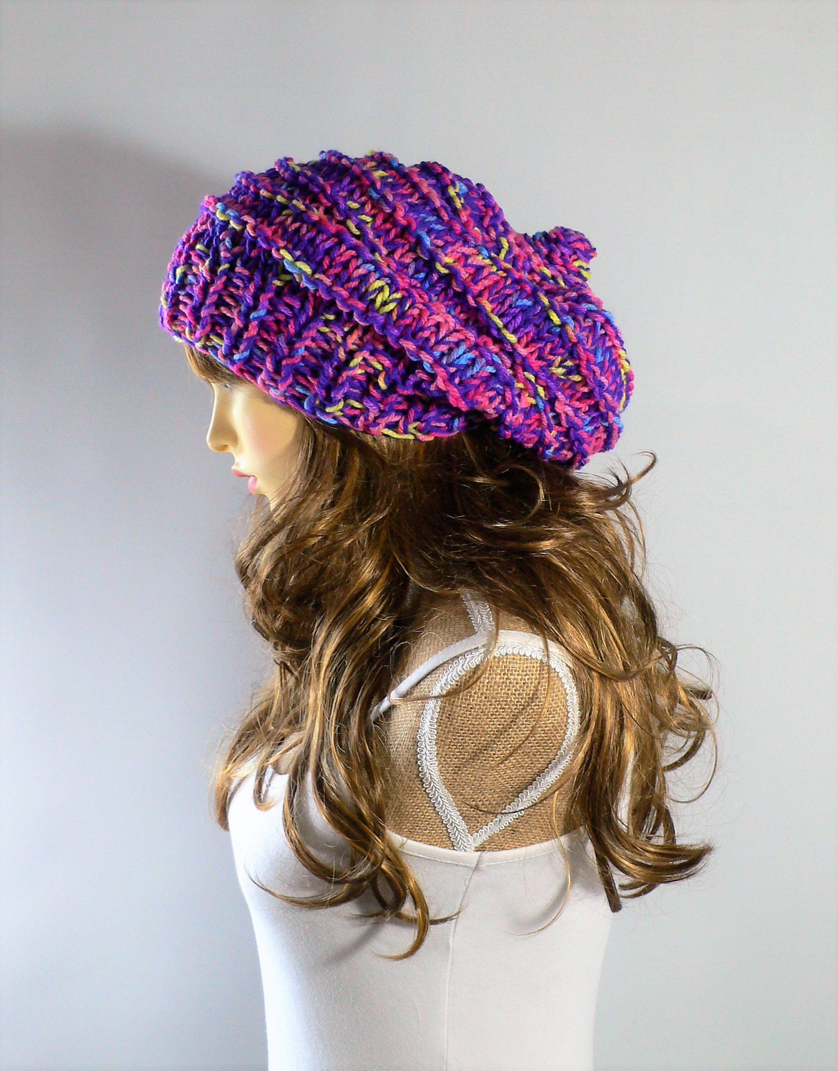 Rainbow Hat Festival Hat Burning Man Clothing Rainbow Pride Gay Pride Hat Pixie Hat Slouchy Knit Hat Slouch Beanie Knit Beanie