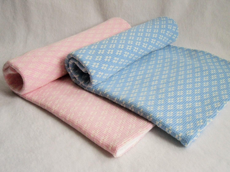 Baby Knit Blanket Knitted fairisleKnitted Pram Blanket BeddingPink Baby BlanketBlue Baby BlanketNewborn BlanketKnitted Wool Blanket
