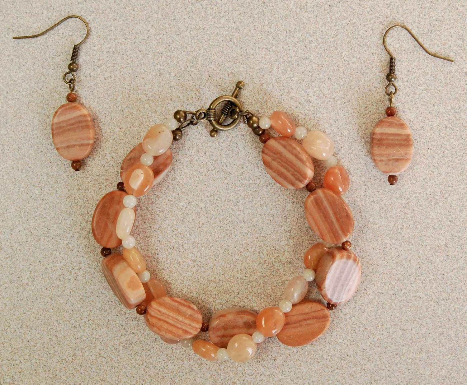 Twisted Gemstone Bracelet n Earrings - Terra Cotta Shades