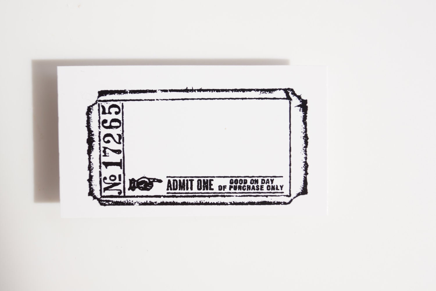 Blank Admit One Ticket Stamp Rubber Cling Mounted By