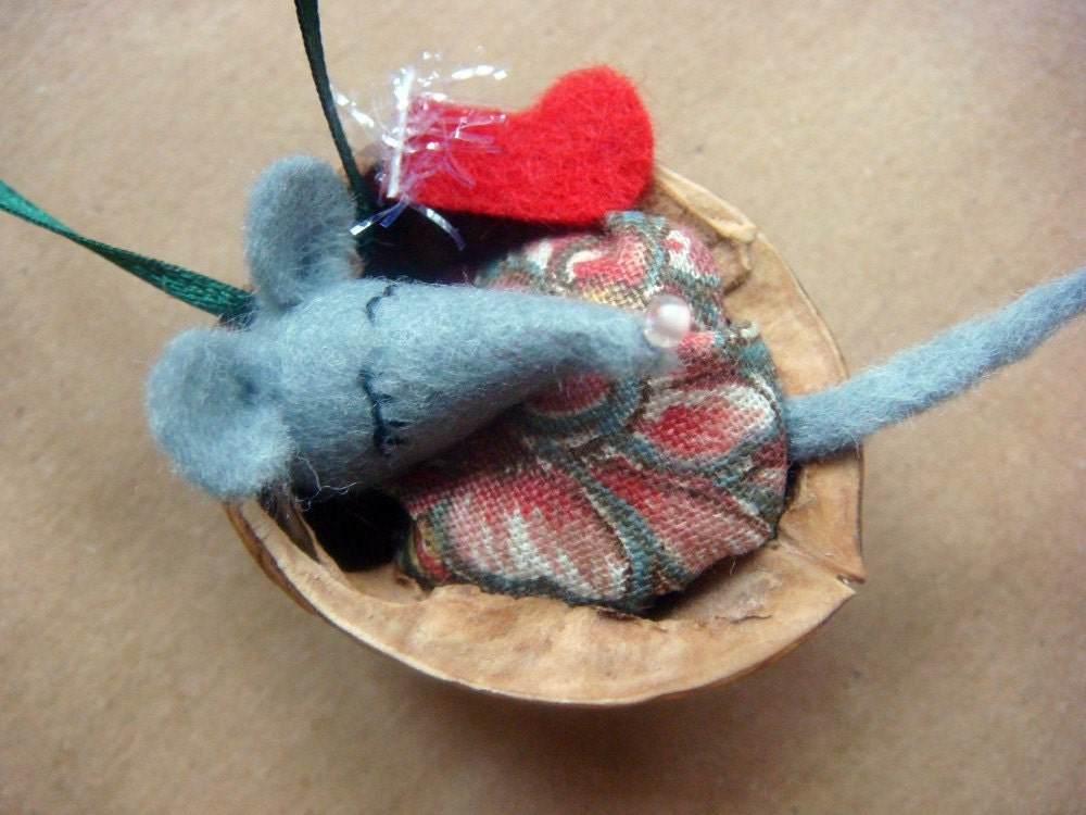 Mouse in bed Christmas tree ornament