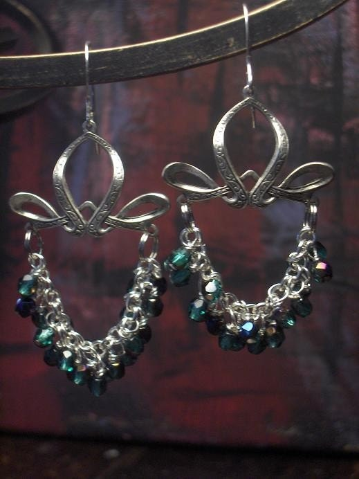 Smokey Emerald Swag Earrings