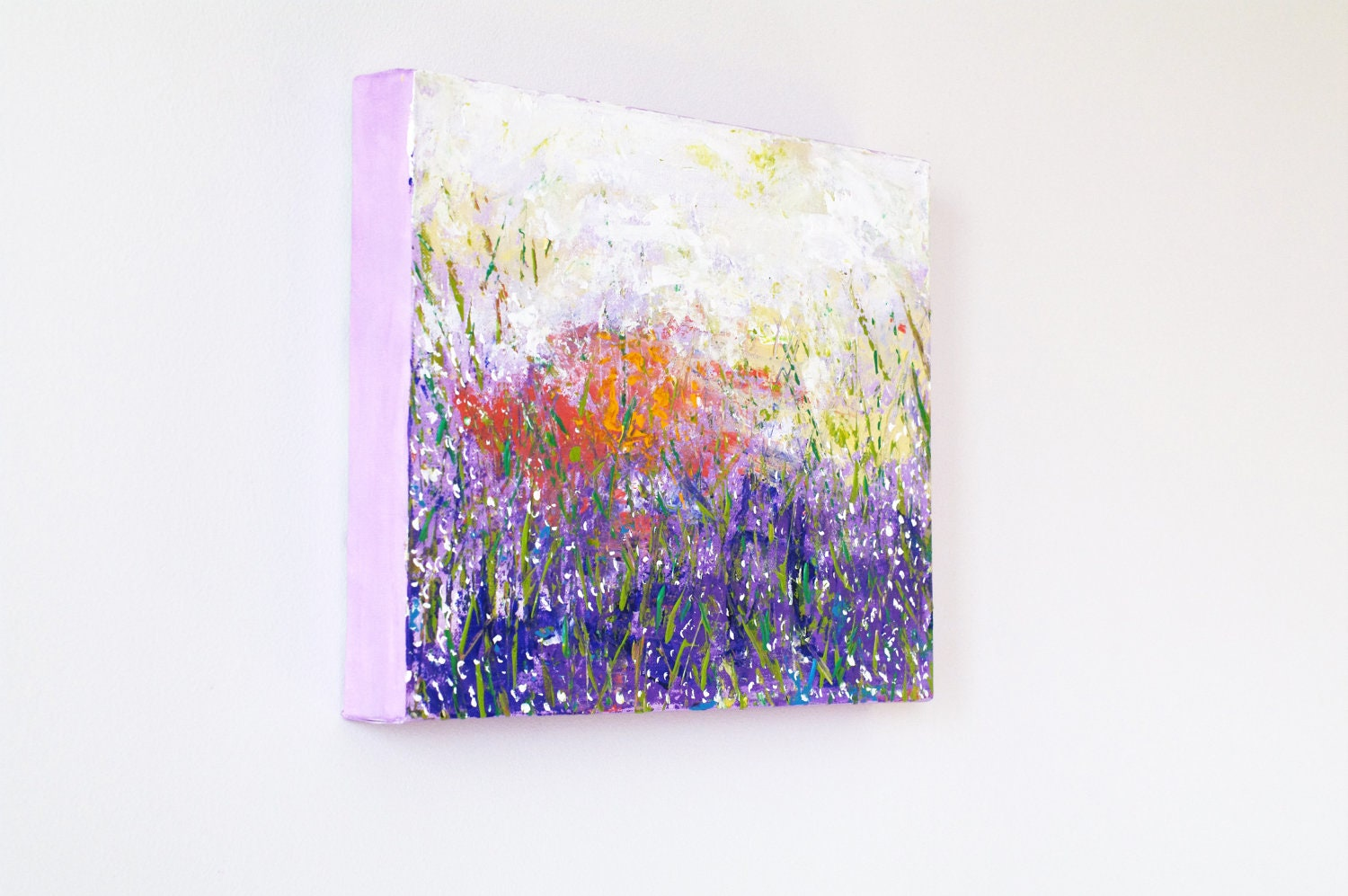 Acrylic abstract painting on canvas. Modern Landscape Nature Purple Lilac Pastel original art. Hand painted Home decor 12x16 - AstaArtwork