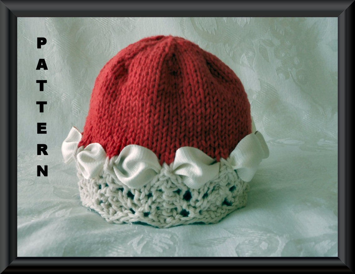 Knitting pattern for a Christmas Hat or a Valentines Day Hat-Knitted Baby Clo...
