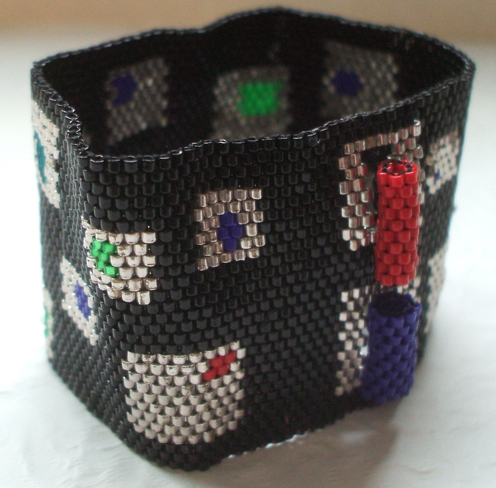 Atomic Geometric Peyote Stitch Beaded Cuff Bracelet