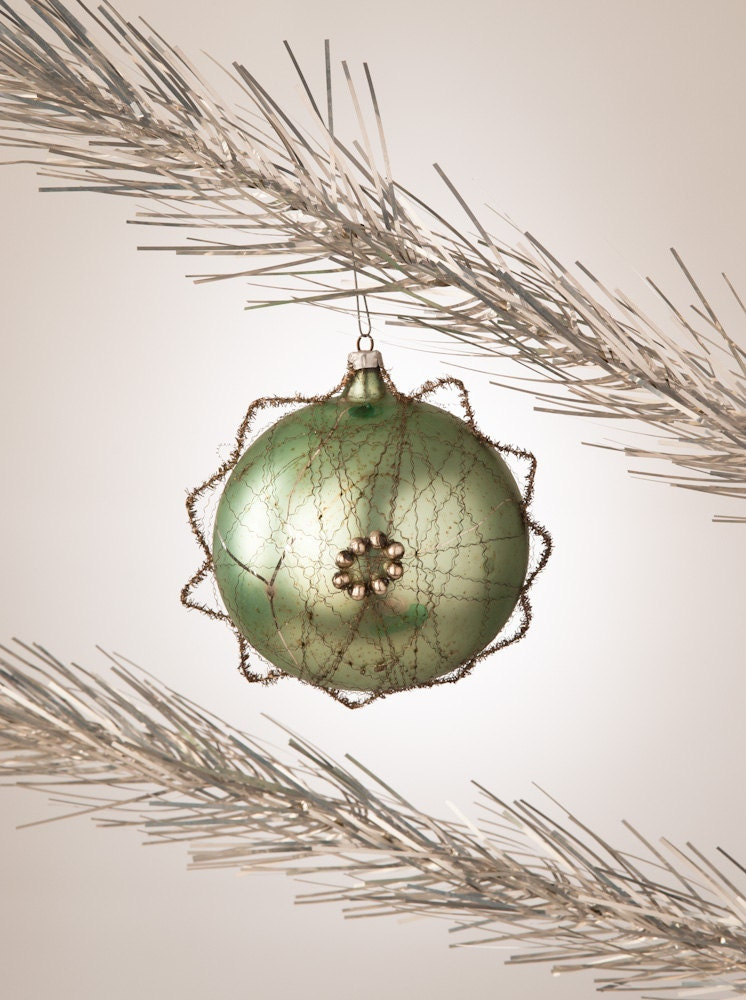 antique christmas blown glass sage green ornament by fallaloft
