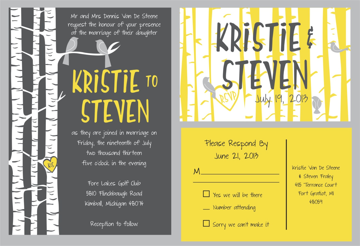 Custom  Wedding Invitation suite: flowers with matching RSVP  postcard  yellow and grey birch tree set//can be customized